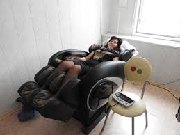 woman in a massage chair
