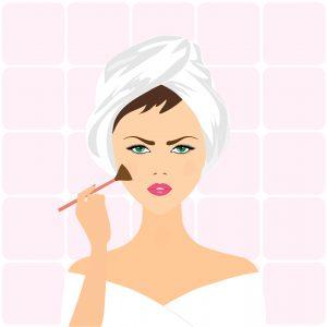 cartoon woman applying makeup