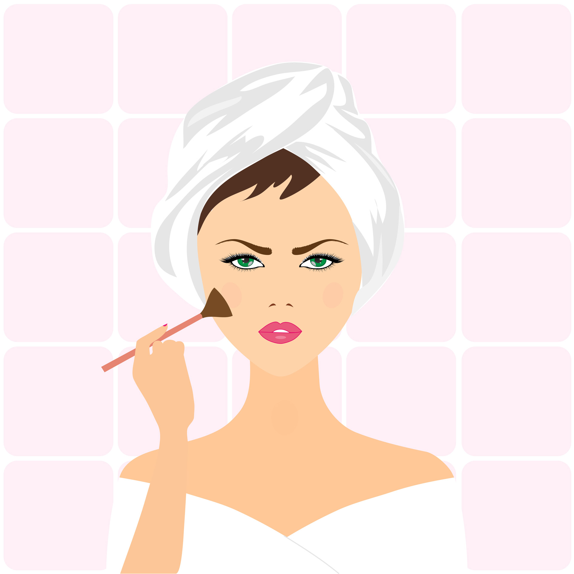 cartoon woman applying makeup