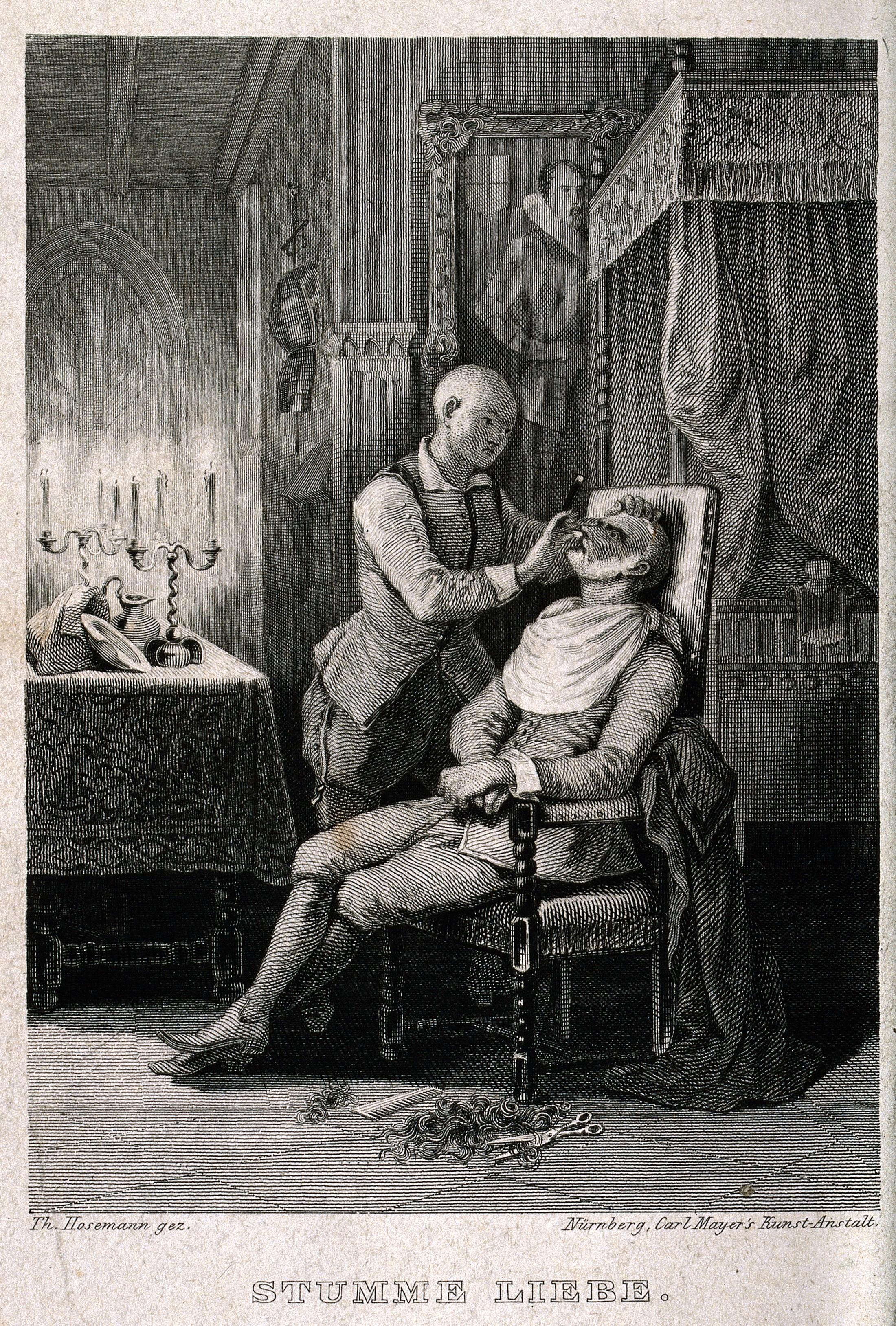 vintage barber shaving a man